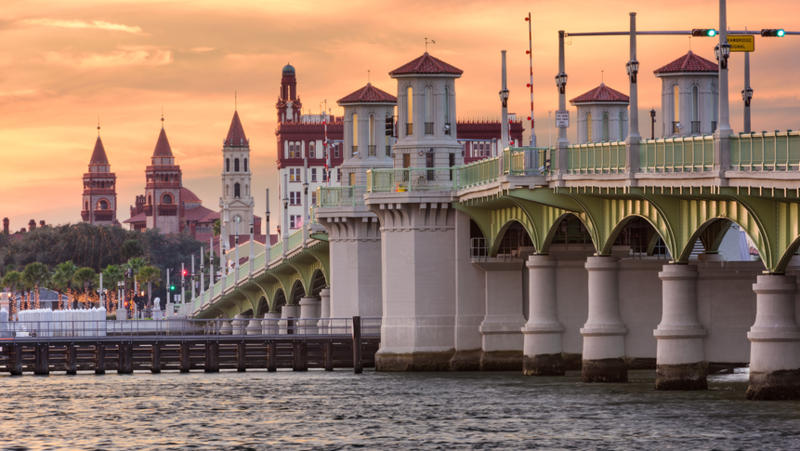 A view of the Bridge of Lions and downtown St. Augustine.