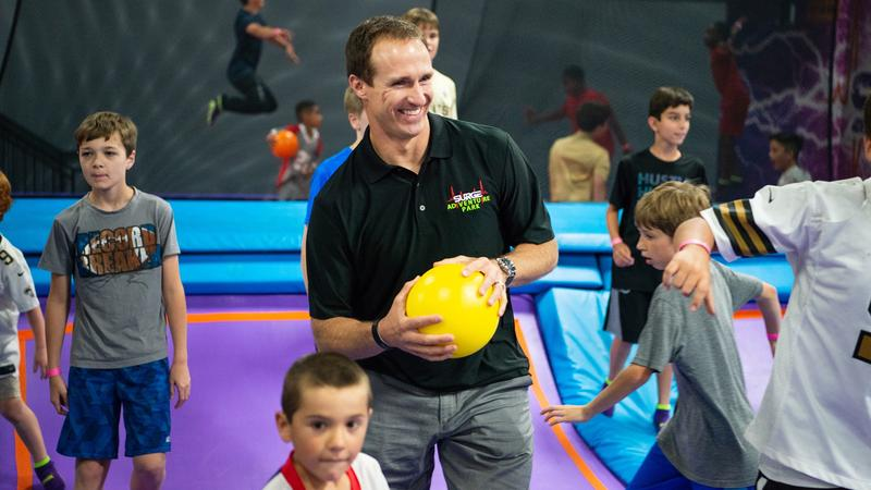 New Orleans Saints quarterback Drew Brees at the New Orleans Surge Trampoline Park. He is opening a Surge Adventure Park in Regency Court in Jacksonville.