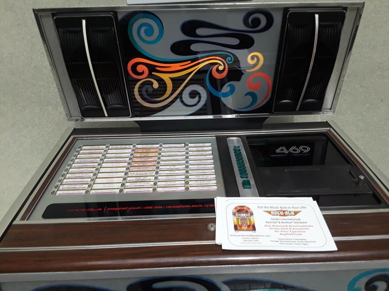 A jukebox on display in the Jacksonville City Hall atrium to commemorate the 50th anniversary of Consolidation.