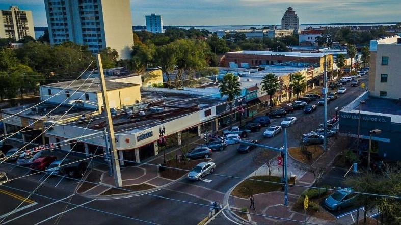 The center of Jacksonville's Five Points neighborhood runs along Post Street.