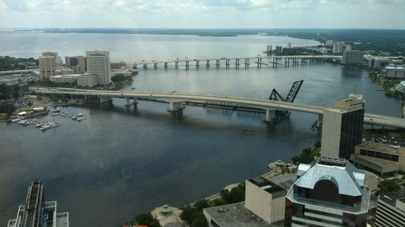 View of Acosta and Fuller Warren bridges from a downtown skyscraper.