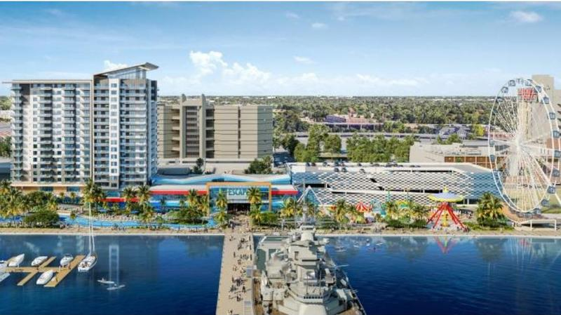 Rendering of a proposed entertainment resort in downtown Jacksonville.