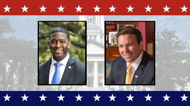 Gubernatorial candidates Andrew Gillum (D) and Ron DeSantis (R)