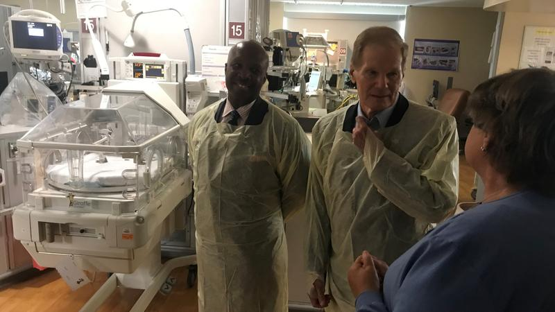 Haley, Nelson, and Gregory in UF Health Jacksonville's Neonatal unit.