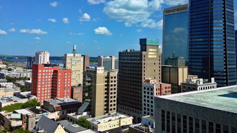 Aerial view of downtown Jacksonville.