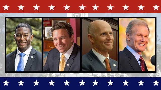 Left to Right: Andrew Gillum (D), Ron DeSantis (R), Rick Scott (R), Bill Nelson (D)