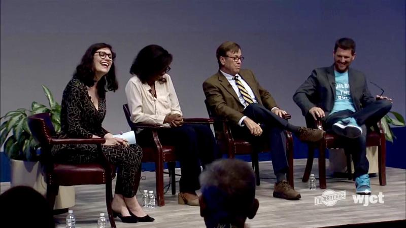 """Jessica Palombo (left) moderates a discussion with """"Forgotten Spaces: Places Reimagined"""" panelists Tia Keitt, Alan Bliss and Mike Field Tuesday night at WJCT Studios."""