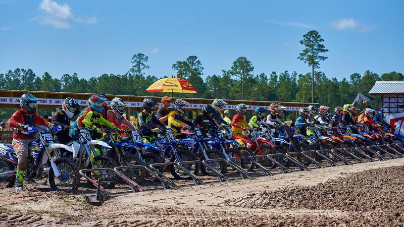 Motocrossers line up at the  WW Ranch Motorcross Park in Jacksonville.