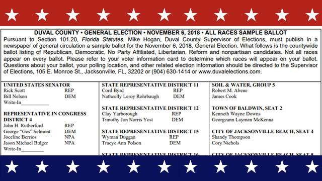 This image shows a Duval County sample ballot for the Nov. 6 general election.