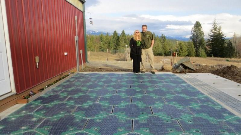 This solar prototype shows a driveway that generates power from the sun.