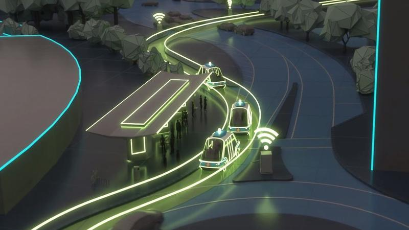 This video screengrab shows a conceptional rendering of the U2C autonomous vehicles that would be included as part of the Bay Street innovation corridor project.