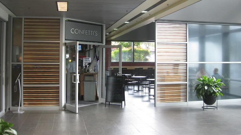 Confetti's serves donuts, muffins, coffee, sandwiches, salads, and wraps at the corner of Forsyth & Julia Streets. Unless you knew the general public could enter the building, you would never know Confetti's actually exists.