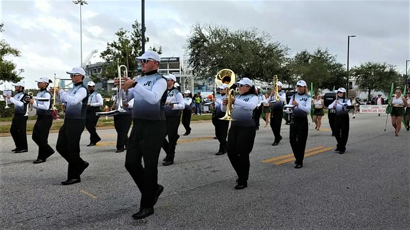 The Jacksonville University Marching Band was among the participants in Monday's Jacksonville Veterans Day Parade.