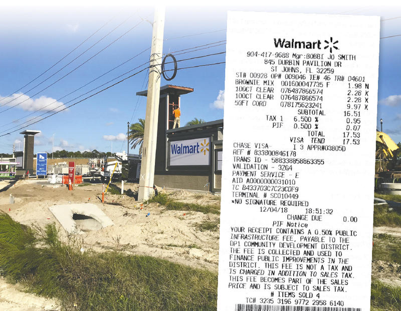 This Walmart receipt shows a public infrastructure fee was charged under the PIF subtotal.