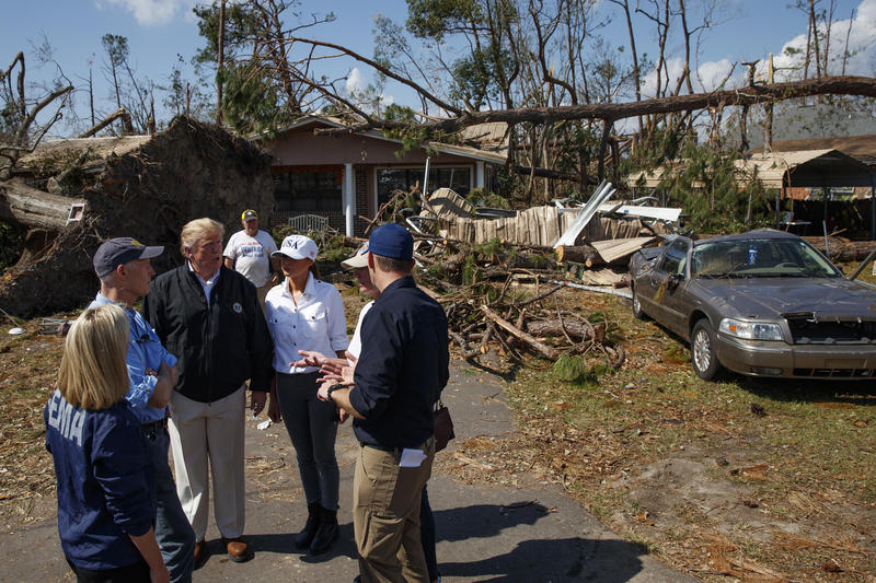 President Donald Trump toured Hurricane Michael damage in the Florida Panhandle in October.