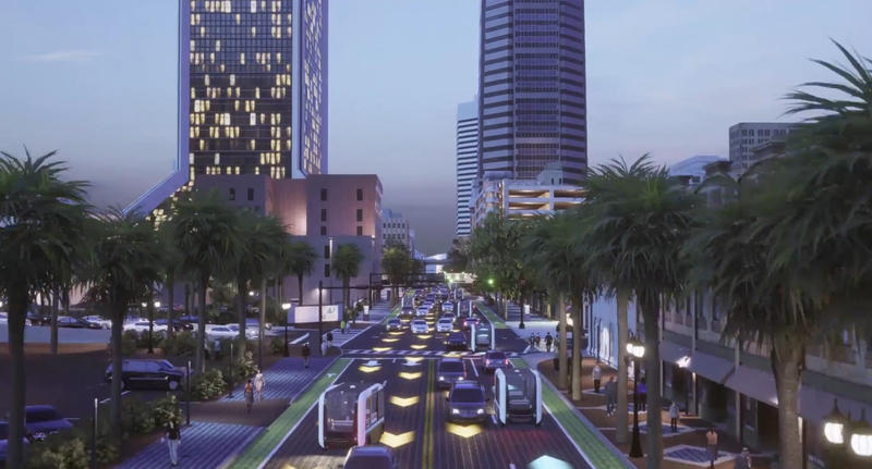 This rendering shows Bay Street filled with autonomous vehicles.  JTA will be using its $12.5 million share of $25 million in federal money coming to Jacksonville to make the self-driving electric transit vehicles a reality.