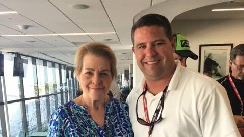 The late Sen. Dorothy Hukill (left) with her friend and colleague Sen. Travis Hutson (right) at the Coke Zero 400 in July, 2017.