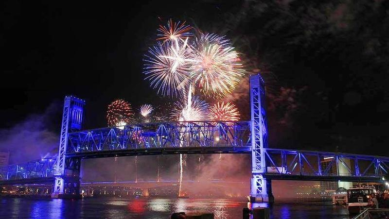 Fireworks as seen from the Main Street Bridge in downtown Jacksonville.