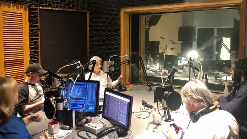 Friday morning's Media Roundtable participants are pictured in WJCT's Studio 5.