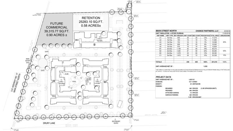 The site plan included with a rezoning request shows  three four-story buildings to comprise 238 multifamily units and almost an acre of commercial space at North Main Street and Drury Lane, north of Airport Center Drive East.