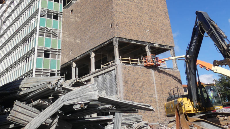 The old City Hall Annex is pictured on Jan. 11 being prepared for implosion.