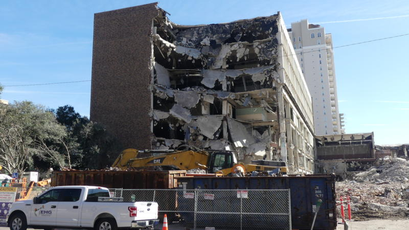 Friday morning preparations continued for the Sunday implosion of the old City Hall Annex building.