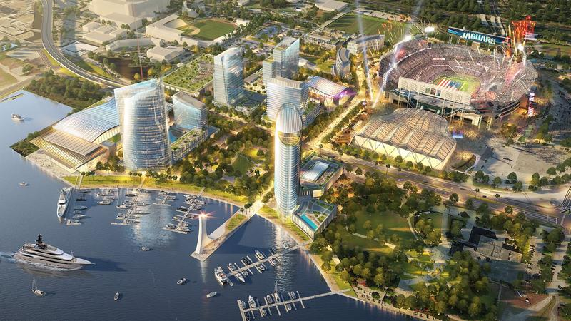 JEA could select a new headquarters in what is now Lot J at TIAA Bank Field. It's part of a larger development planned by Jaguars owner Shad Khan.