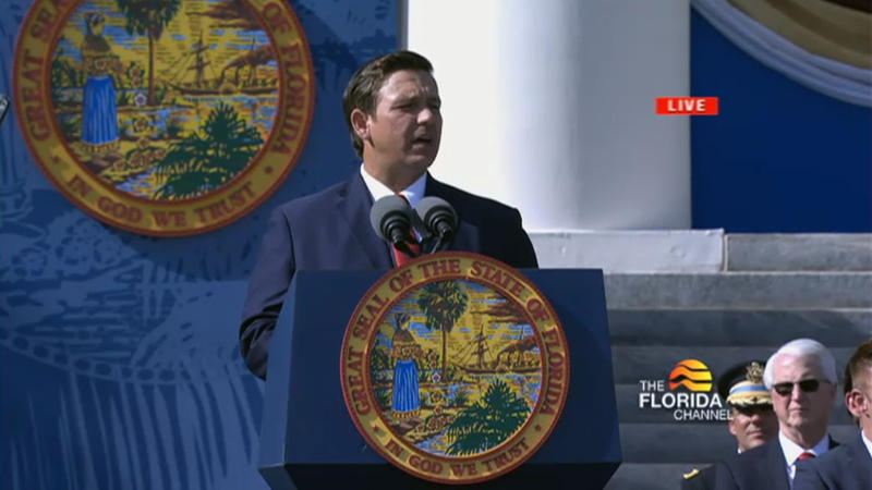 Gov. Ron DeSantis delivered his inauguration address Tuesday in front of the state Capitol.