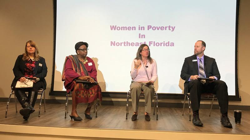 Left to right: Jacksonville Legal Aid Intake Director Missy Davenport, Northeast Florida Women Veterans President Deloris Quaranta, Changing Homelessness President/CEO Dawn Gilman and Head of Community Impact, Basic Needs at United Way Jeff Winkler.