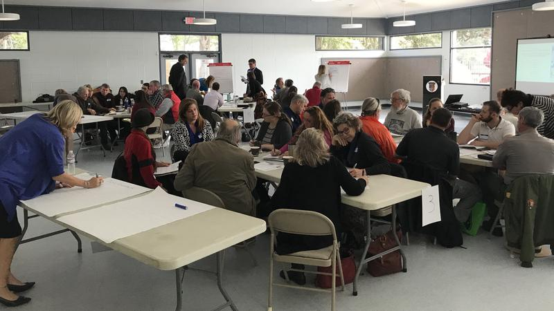St. Augustine residents and leaders discuss strategies for addressing sea level rise at a workshop Thursday.