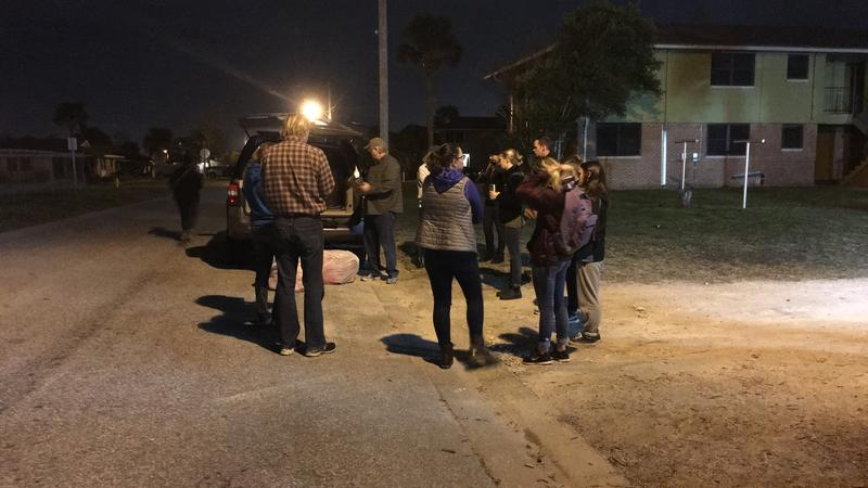 Volunteers helping with Wednesday's annual Point in Time homeless count received their instructions at 5:00 a.m. outside Mission House in Jacksonville Beach.