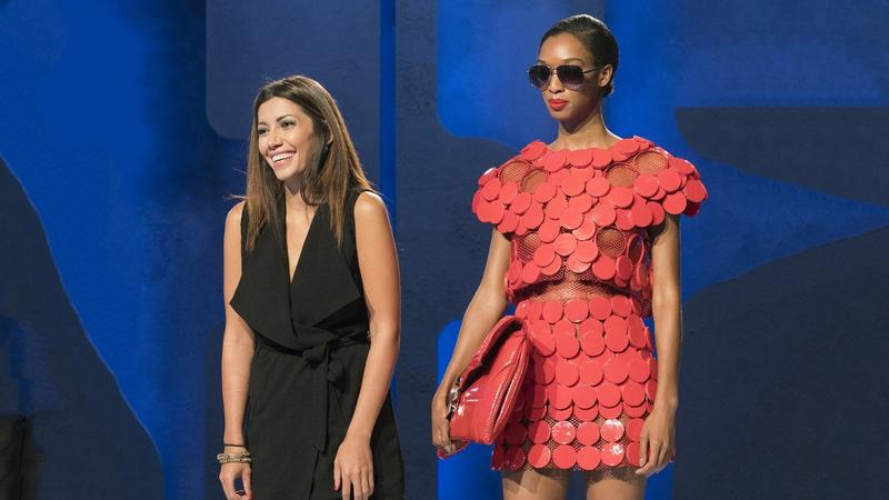 Irina Shabayeva (left), winner of Project Runway Season 6, was tasked with designing a piece from items you would find on a Southwest Airlines® flight during the Unconventional Materials episode of Project Runway All Stars, Season 7.
