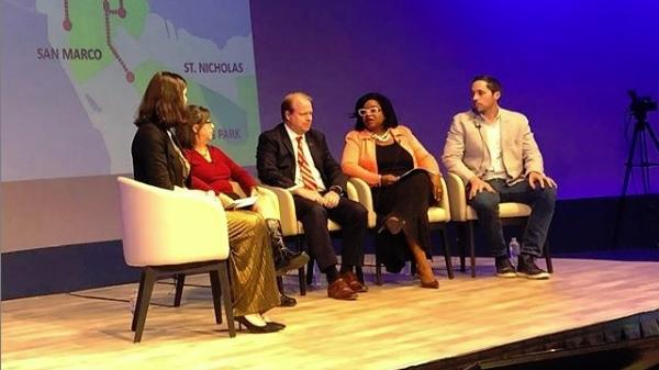 Moderator Jessica Palombo talks with panelists (from left) Kay Ehas, Brad Thoburn, Ju'Coby Pittman and Justin Dennis during Getting There In Jacksonville.