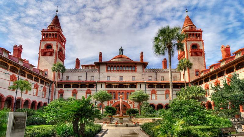 View from inside the courtyard of Flagler College in St. Augustine, FL.