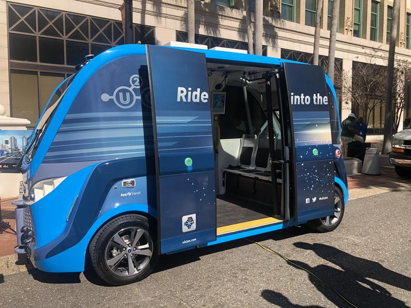 A JTA autonomous test vehicle was on hand for the presentation at City Hall.