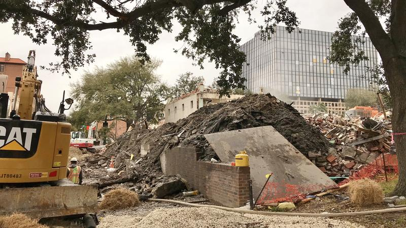 bulldozer and rubble pile