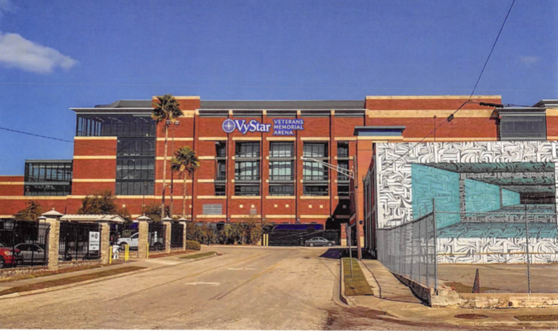 This rendering in a proposal agreement deplicts what VyStar signage on the Jacksonville Veterans Memorial Arena would look like.