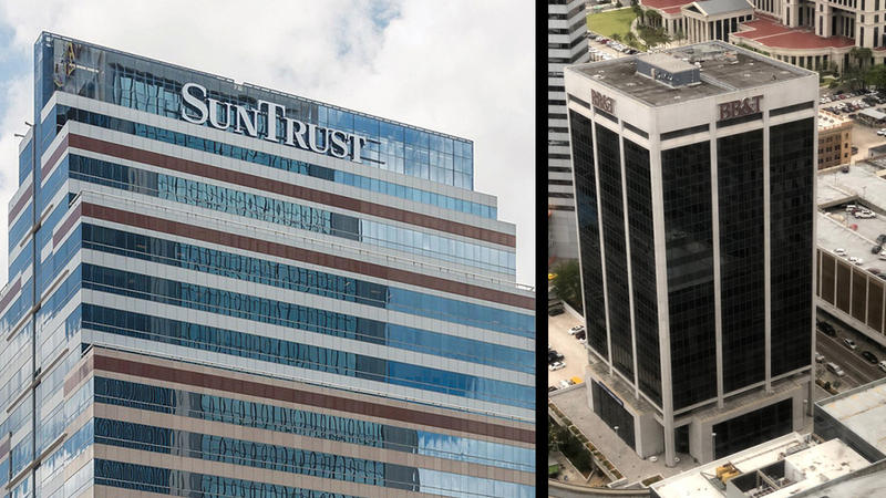 The SunTrust and BB&T towers in downtown Jacksonville are pictured.