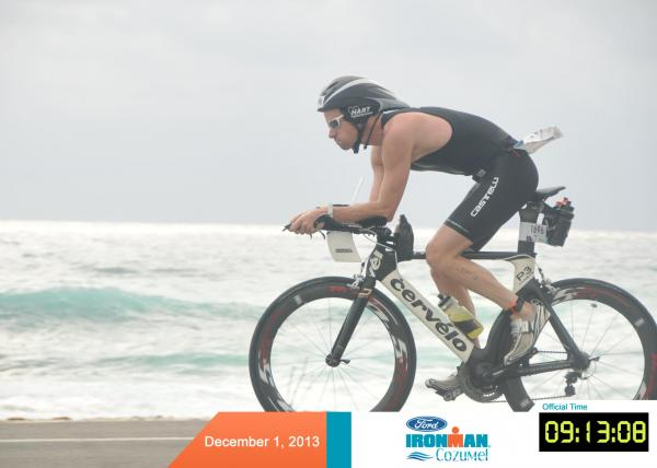 Jacksonville businessman Billy Hart rides to a personal victory in the Ironman Triathlon, Cozumel, Mexico, 12.1.2013.