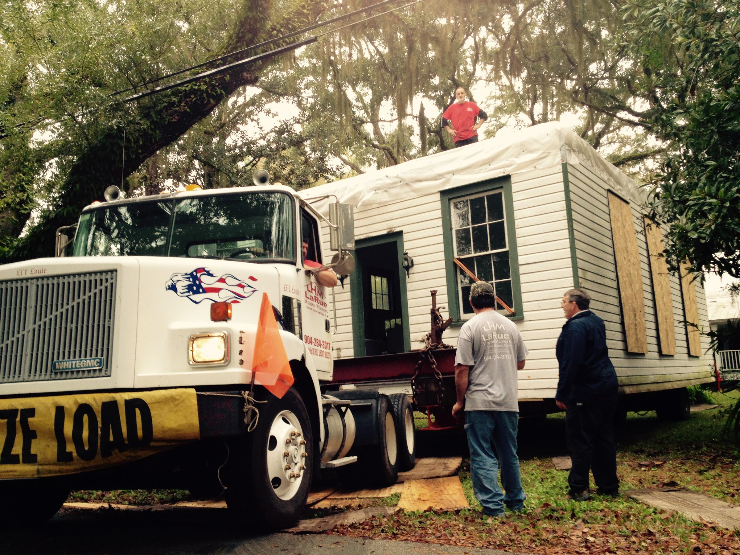 The Historic One Room School House Being Moved By Truck