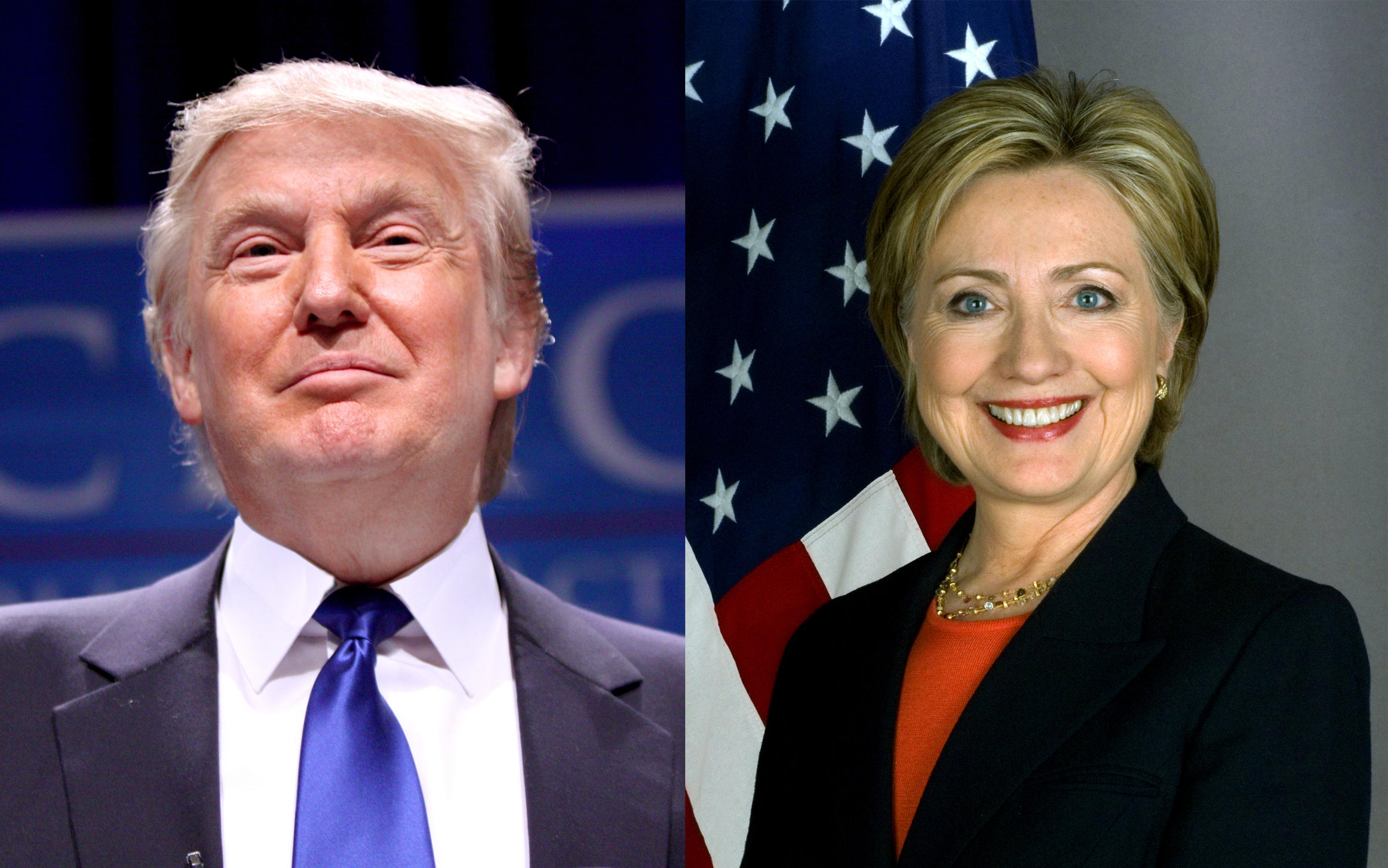 Image result for clinton and trump