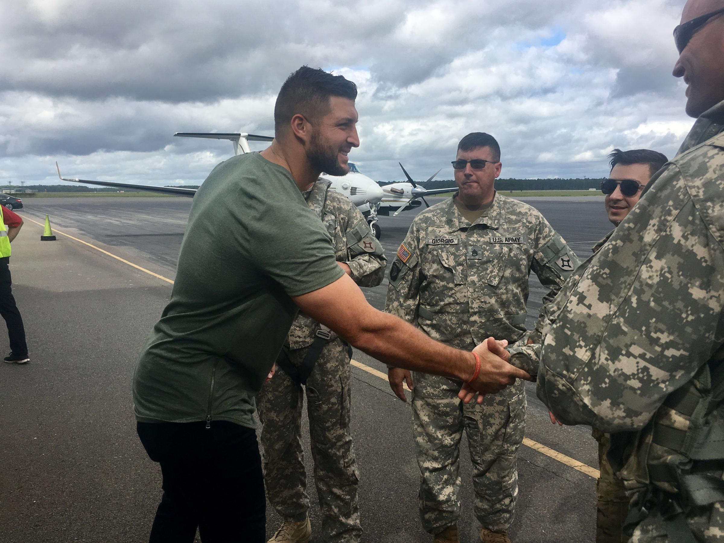 Tim Tebow Plays Cheerleader For Hurricane Irma Relief Efforts In Northeast Florida