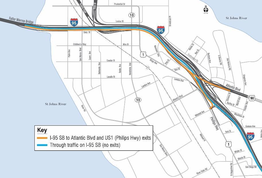 Traffic Map 95.Motorists Face Major I 95 Southbound Traffic Shift On Fuller Warren
