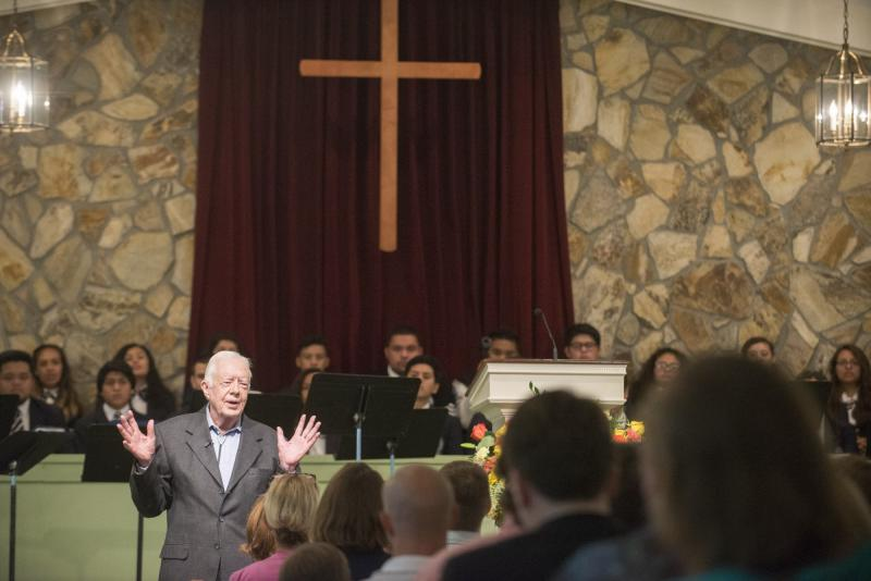 Jimmy Carter teaches Sunday School in August of 2015 at Maranatha Baptist Church in Plains. That class marked Carter's return to teaching following his cancer diagnosis.