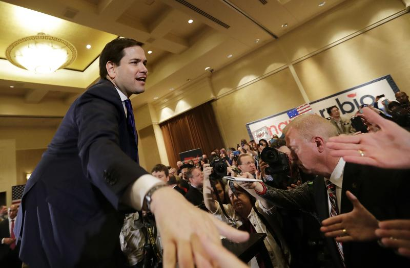 Republican presidential candidate, Sen. Marco Rubio, R-Fla., shakes hands with audience members after speaking at a campaign event at the InterContinental Hotel Monday, Feb. 29, 2016, in Atlanta.