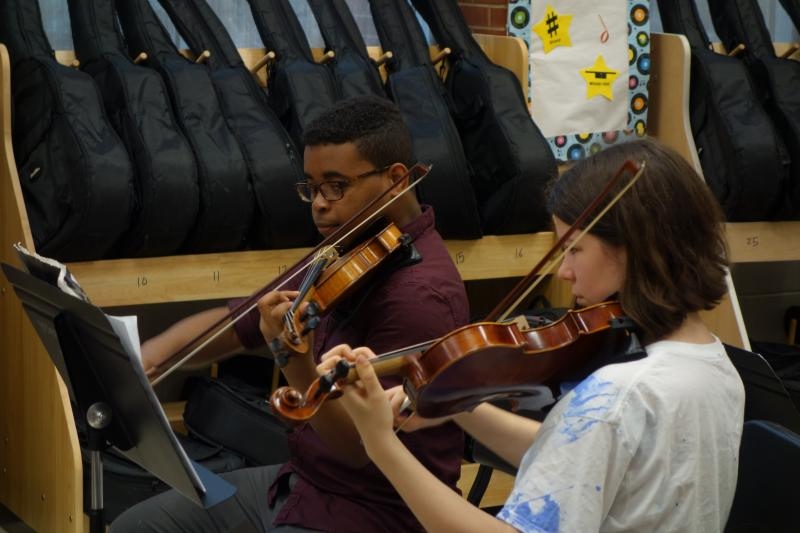 The first Violinists of the Grady High orchestra