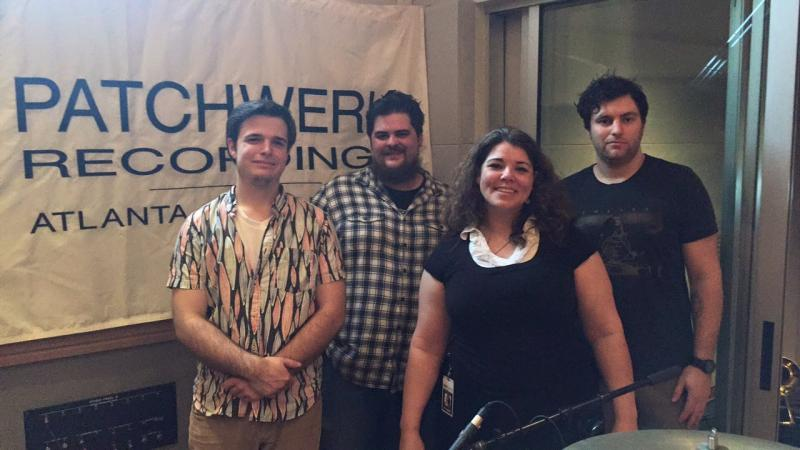 Host Celeste Headlee at Patchwerk Recording Studios in Atlanta with Culture Vulture's members: Nick Gilbert, Mathew Pelton, and James Webber.