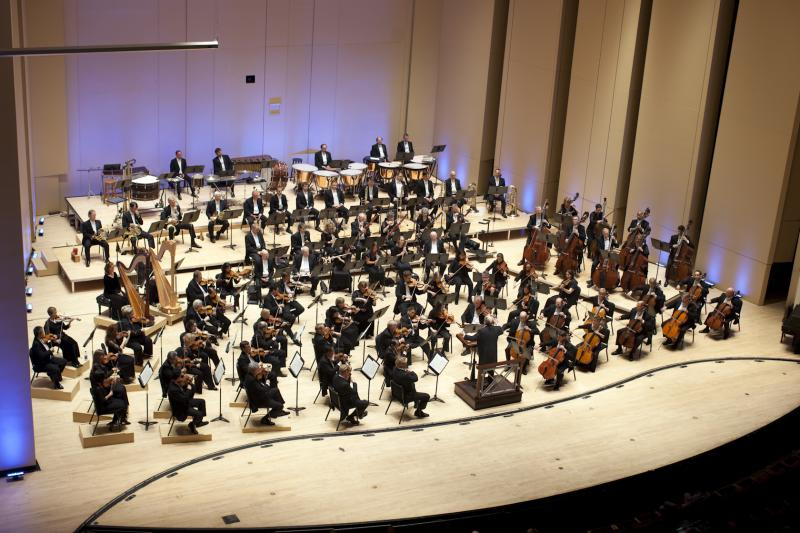 The Atlanta Symphony Orchestra on stage in Symphony Hall