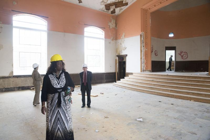 The auditorium, while shrunk by about two thirds after being divided into apartments near an entrance hallway, will still be used as a community center and performance space once AL Miller High School becomes low income housing.