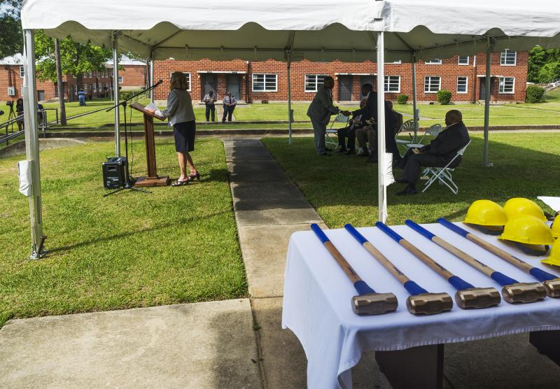 During the ceremony kicking off the demolition of Tindall Heights in Macon, Georgia.